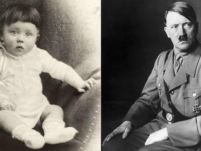 Adolf Hitler, en 1889. A la derecha, retratado en una fecha indeterminada de los años treinta del siglo pasado.