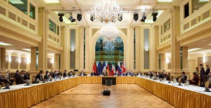 Imagen de la reunión de la comisión del pacto nuclear, este martes en Viena.