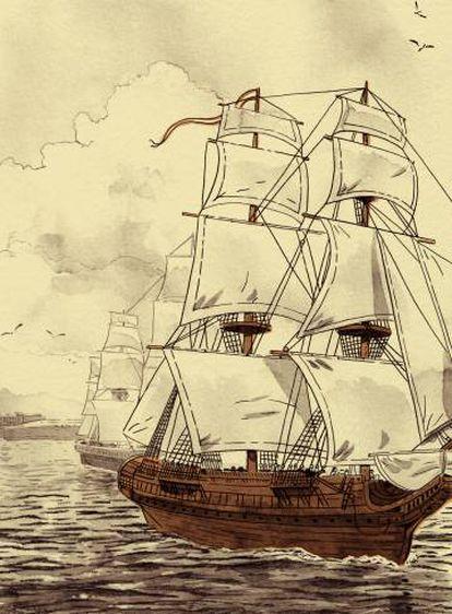 Una imagen del galeón español en el cómic 'El tesoro del Cisne Negro'.