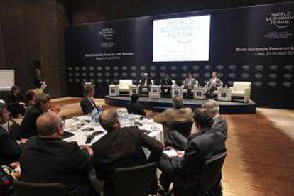 Vista de las sesiones iniciales del Foro Económico Mundial para América Latina en Lima (Perú).