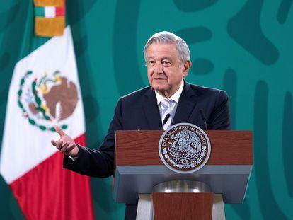 Andrés Manuel López Obrador, este miércoles en el Palacio Nacional.