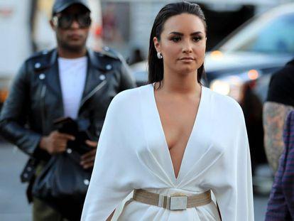 Demi Lovato, en Las Vegas antes de cantar durante la pelea entre Mayweather y McGregor.