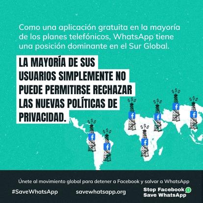 Publicidad de la campaña Stop Facebook Save WhatsApp.
