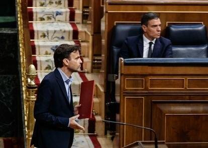 El presidente del grupo parlamentario de Unidas Podemos, Jaume Asens, en el Congreso.