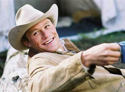 El actor Heath Ledger, en el filme <i>Brokeback Mountain</i>.