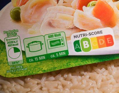 Un producto con etiquetado con el sistema Nutriscore en Alemania.