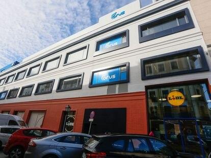 Dvd 1073 23/9/21Edificio que albergaba la Escuela de Danza de la CAM, y actualmente ocupado por un supermercado y un gimnasio particular en la calle Soria de Madrid. KIKE PARA.