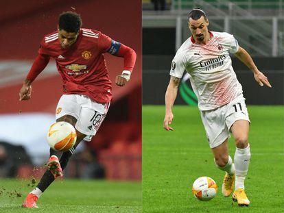 Marcus Rashford, del United, y Zlatan Ibrahimovic, del Milan.