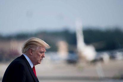 Donald Trump al subir esta mañana al Air Force One.
