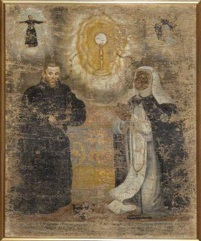 Retrato de la monja Chikaba y su confesor, anónimo, s. XVIII.