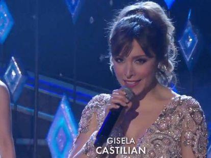 Gisela durante su actuación en la ceremaonia de los Oscars con el rótulo 'Castilian'.