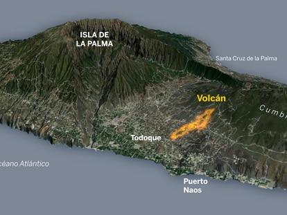 Volcán de La Palma: radiografía de la zona arrasada por la lava y trayectoria prevista