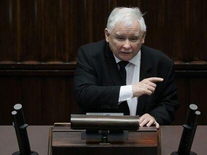 El líder del PiS, Jaroslaw Kaczynski, este lunes en el Congreso polaco.