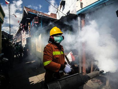 Fumigación en Surabaya (Indonesia) para luchar contra el mosquito aedes, responsable de expandir el dengue y el zika.