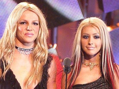 Britney Spears y Christina Aguilera en los premios MTV Video Music Awards del año 2000, en Nueva York.