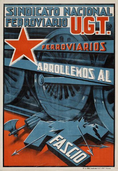 Cartel de la Unión Nacional de Ferrocarriles y UGT del año 1937