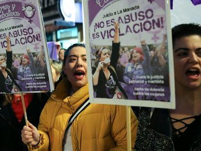 Manifestación frente al Ministerio de Justicia en 2018 por la nueva sentencia contra La Manada.