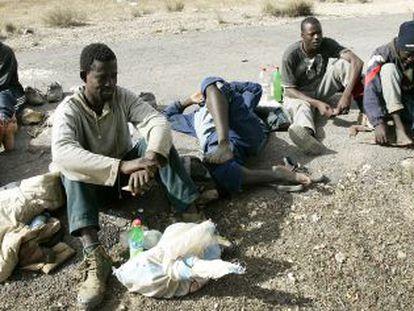 Inmigrantes subsaharianos en Marruecos.