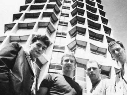 Los miembros de la banda inglesa The Claim, en 1991.