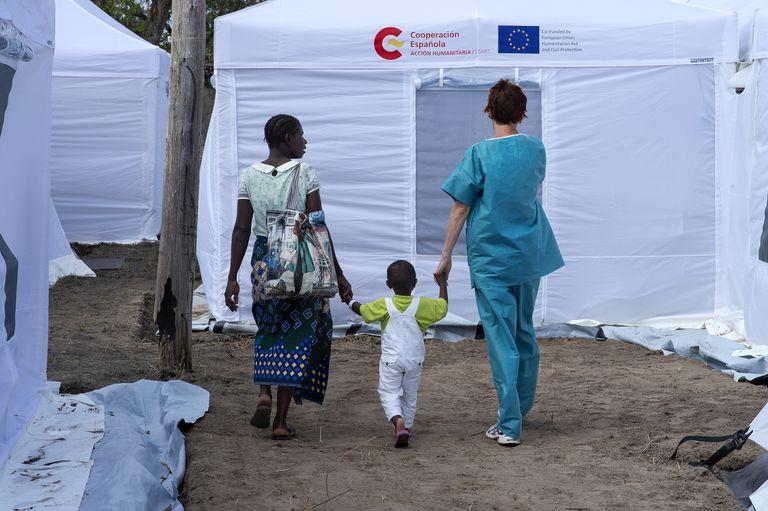 Hospital desplegado por la Agencia Española de Cooperación para el Desarrollo en Mozambique tras el ciclón Idai.
