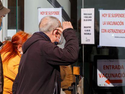 Un centro de vacunación cerrado en Valladolid, el miércoles.