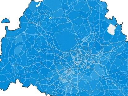 El mapa del partido ganador en cada municipio de Madrid.