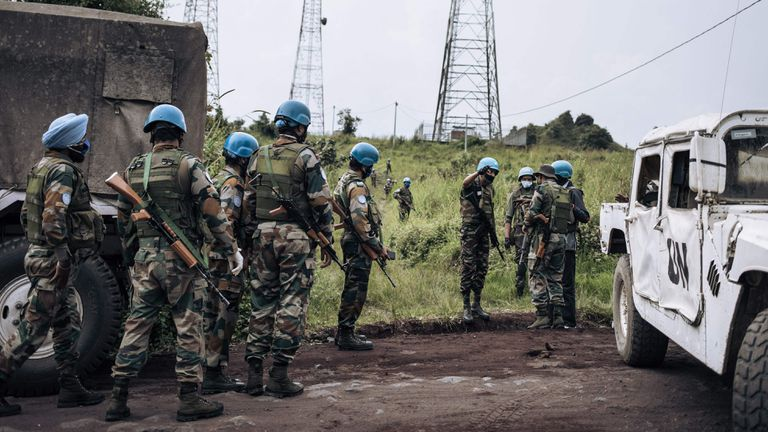 United Nations soldiers patrol the ambush area this Monday.