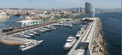 Imagen de la nueva marina aledaña al hotel W, en Barcelona.