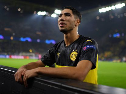 Achraf Hakimi, tras el Borussia-Inter, el 5 de noviembre.