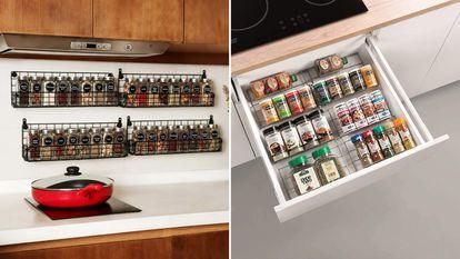Seleccionamos una serie de organizadores para guardar y ordenar las especias de la cocina.