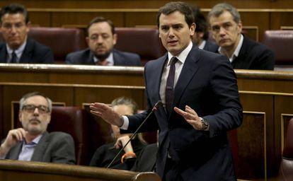 Albert Rivera, ayer en la sesión de control al Gobierno.