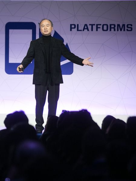Masayoshi Son, fundador  del grupo Softbank, en el Mobile World Congress de Barcelona en 2017.