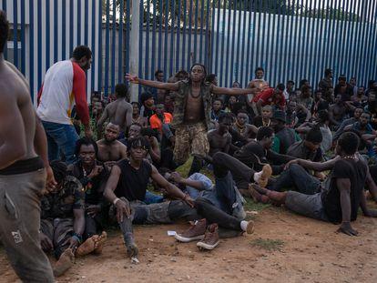 Un numeroso grupo de inmigrantes tras saltar la valla de Melilla, este jueves.