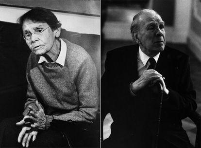 A la izquierda, la científica Barbara McClintock. A la derecha, el escritor Luis Borges.
