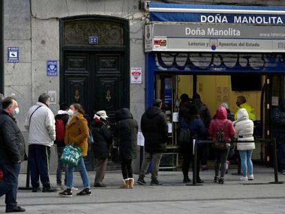 La administración de Loterías de Doña Manolita, en Madrid, el pasado 5 de diciembre.