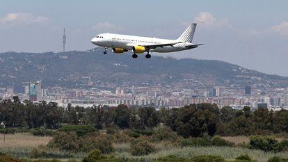 Vista de un avión que aterriza en El Prat desde La Ricarda.