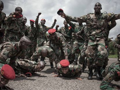 El centro para reclutas del Ejército de República Centroafricana financiado por consultores militares rusos en 2018.