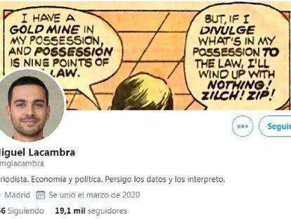 Cuenta de Twitter de Miguel Lacambra.