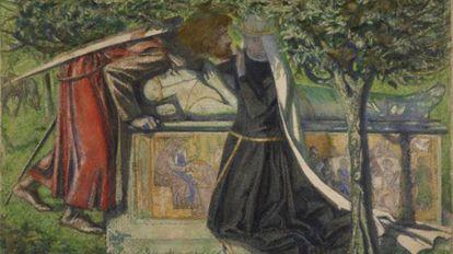 Lancelot y Ginebra próximos a besarse sobre la tumba de Arturo. Acuarela,(1855).