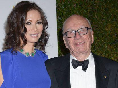 Wendi Deng Murdoch y Rupert Murdoch, en una fiesta posterior a los Globos de Oro en enero de 2013.