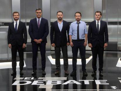 Los cinco candidatos, en el plató.