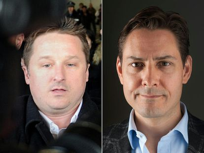 Los canadienses Michael Spavor (izquierda) y Michael Kovrig (derecha)