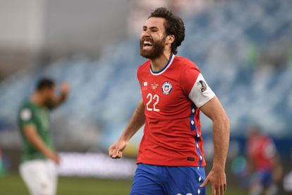 Ben Brereton celebrates his first goal for Chile in the match against Bolivia on June 18.