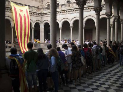 Acta a favor del referéndum independentista en la Universidad de Barcelona, en septiembre de 2017.