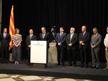 El presidente de la Generalitat, Quim Torra, recibe el pasado jueves al cuerpo consular acreditado en Cataluña.