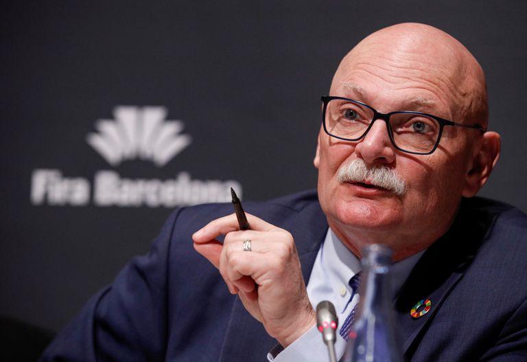 John Hoffman durante la rueda de prensa de cancelación del Mobile en Barcelona.