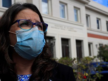 Mónica Oltra, tras su reunión con el ministro de Inclusión, Seguridad Social y Migraciones, José Luis Escrivá.