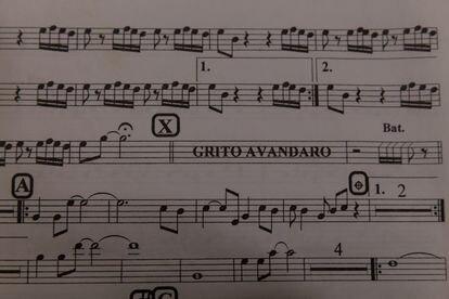 La partitura de la canción 'Avándaro', de Tinta blanca.