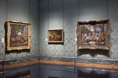 'The Triumph of Silenus' (left) together with 'The Triumph of Pan' (right), another work by Poussin, at the National Gallery.