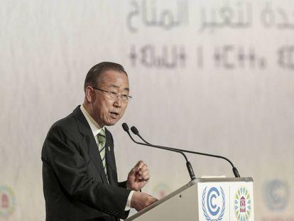 Ban Ki-moon el martes en la Cumbre del Clima de Marrakech.
